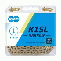 "CHAIN, KMC, K1 SL,  1/2 x 3/32"" x 112 links, Single Speed,  Ti-N Gold, Lightweight"