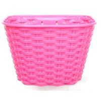 "BP GENERAL-BASKET - Plastic, Front, For 16-20"" Bikes, With Bracket & Fiiting Set, L 26cm x W 17cm x H 16cm, Pink"