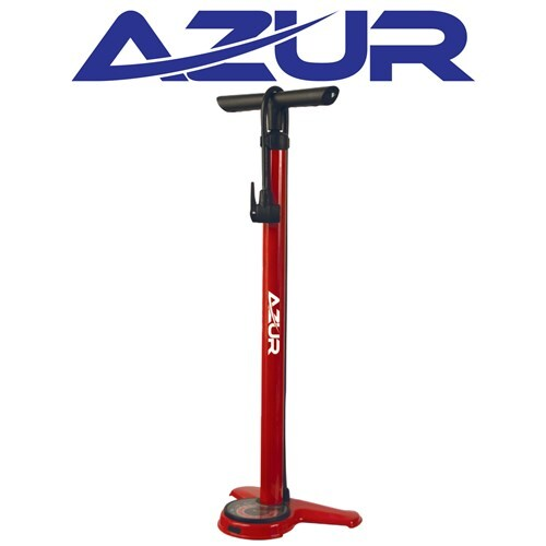 Azur Sirocco Floor Bike Pump Dual Head Red